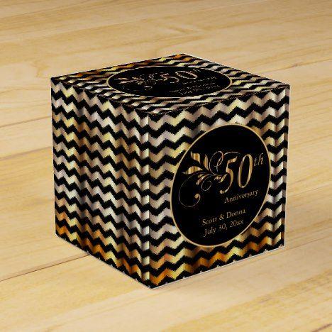 Black & Gold Chevron 50th Wedding Anniversary Favor Box
