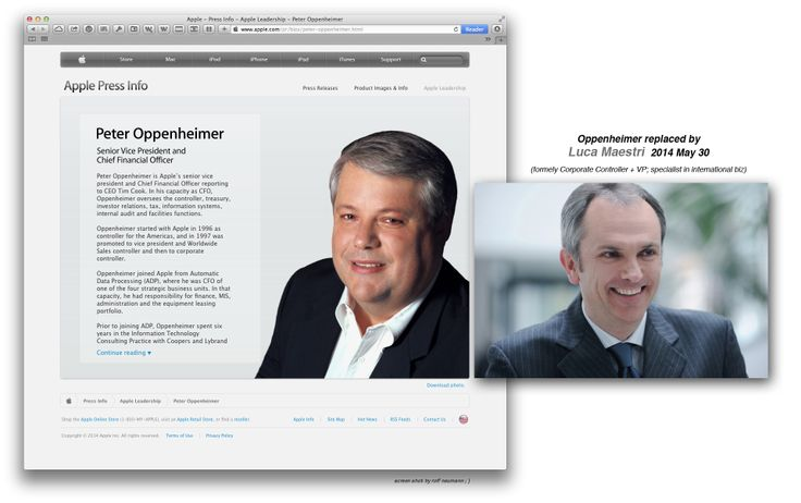 Apple staff Changeover: ••Luca Maestri•• officially succeeds Peter Oppenheimer as CFO & Senior VP 2014-05-30 • Luca was Corporate Controller + VP • his speciality is International Business • Oppenheimer bio (Apple): http://www.apple.com/pr/bios/peter-oppenheimer.html