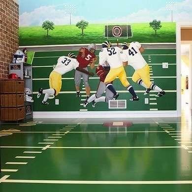 Football Wall Mural - Football Decor - 10 Winning Football Rooms for Fans of All Ages - Bob Vila - Bob Vila