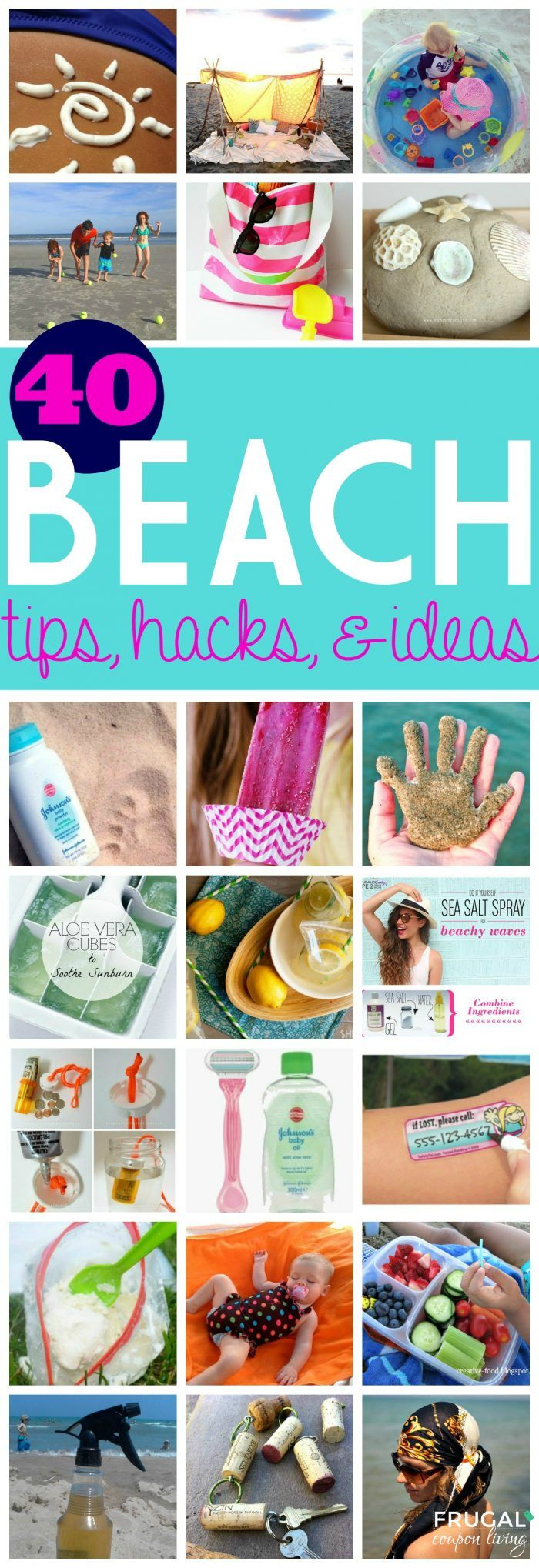 40 Beach Tips and Tricks - DIY for your beach vacation. Follow some of these crafts, tips, and tricks to make your visit to the sand easier.