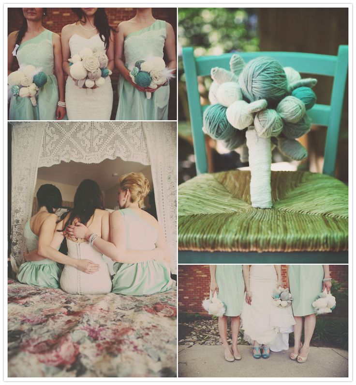 mint green and yarn bouquet: Color, Wedding Bouquets, Yarns Friends, Yarns Ball, Devices Foto, Yarns Bouquets Lov, Cool Ideas, Weddings Why, Ball Bouquets