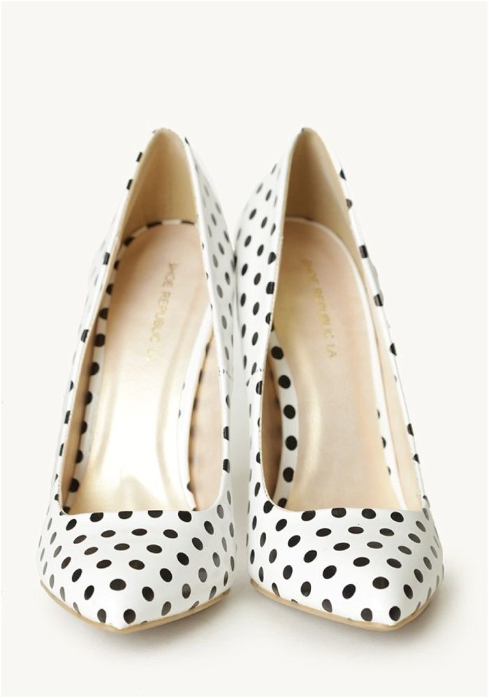 These black and white polka dot heels would add a touch of whimsy to the bride or bridesmaids' outfits.