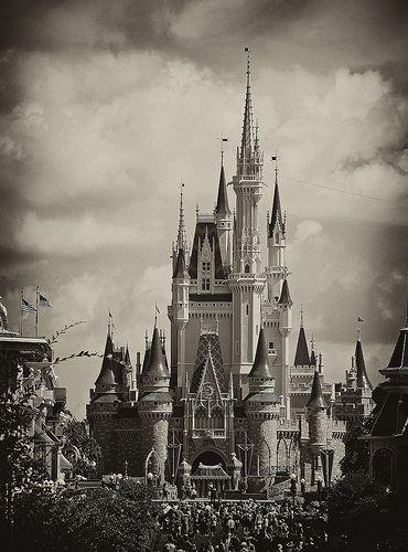 black and white cinderella's castle - Google Search