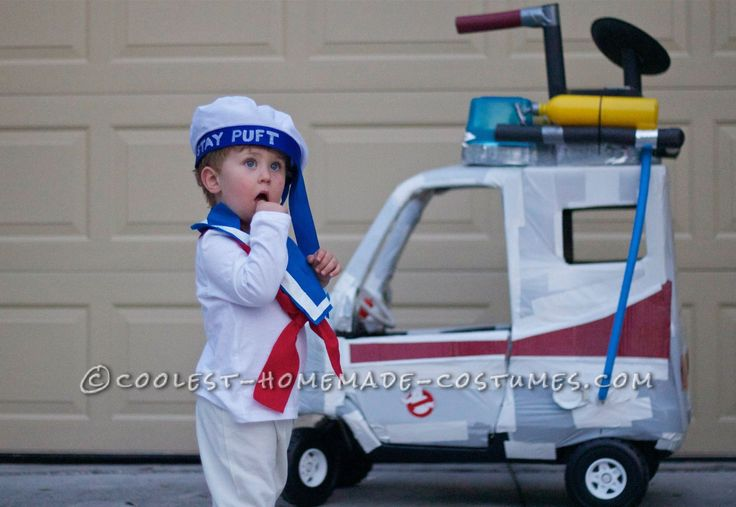 Toddler Stay Puft Marshmallow Man Costume and Stroller Ghostbuster Mobile... Coolest Homemade Costumes
