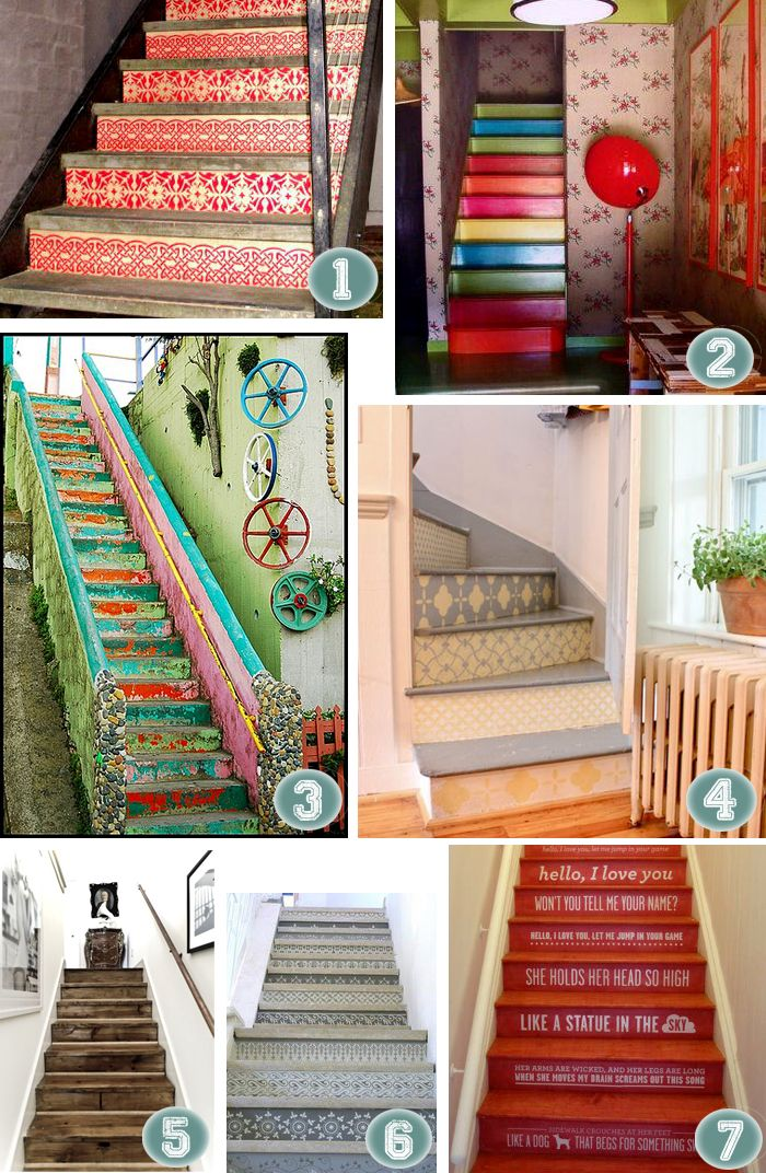 fabulous stairways!   If I every have the good fortune (i.e. money!) to have a finished basement, I'd do this in a heartbeat!
