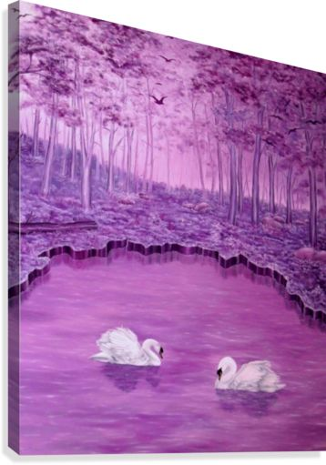 landscape, painting, art, forest, lake, swans, fantasy, whimsical, purple