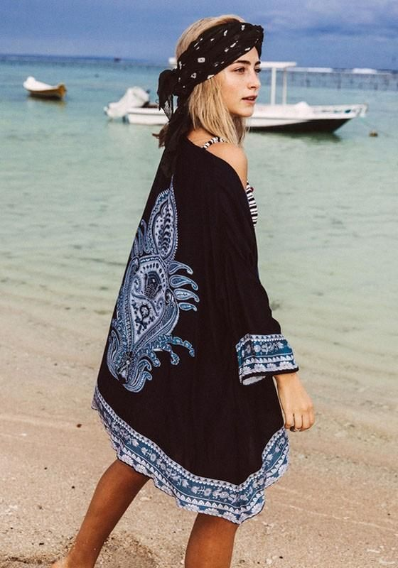 b1770f3895 Black Boho Floral Print Irregular Cardigan Sweet Cover Up Beach Kimono