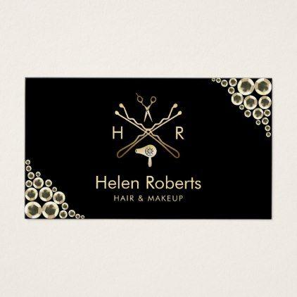 #makeupartist #businesscards - #Hair Stylist Beauty Salon Logo Modern Gold Sequins Business Card