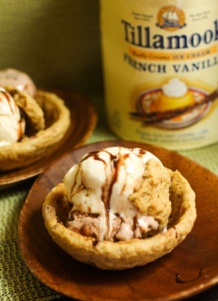 how to make chocolate chip cookie ice cream bowls