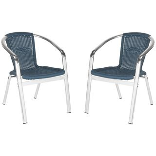 Wrangell Teal Indoor Outdoor Stackable Arm Chair (Set of 2) | Overstock.com Shopping - Great Deals on Safavieh Dining Chairs