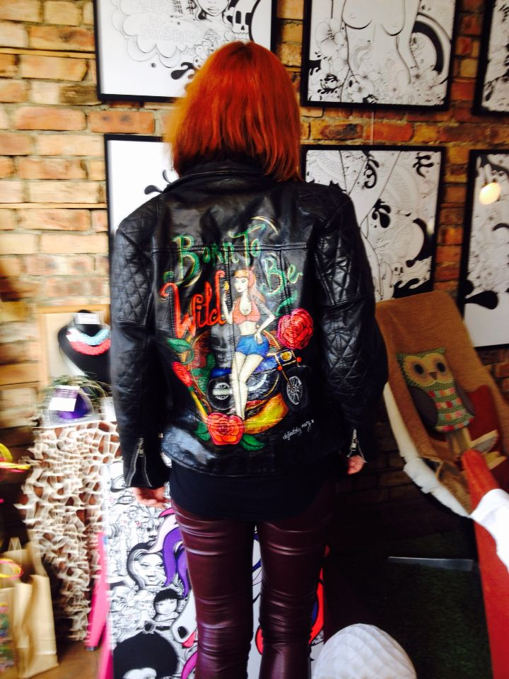 Hand painted leather jacket.