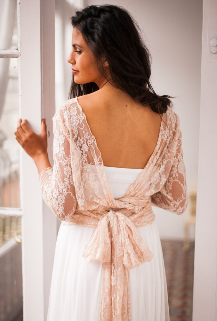 Lace shrug, Rose gold shrug, convertible wrap top, wedding accessories, rose gold lace top, versatile wrap top, lace shrug, lace bolero by mimetik on Etsy https://www.etsy.com/listing/399293249/lace-shrug-rose-gold-shrug-convertible