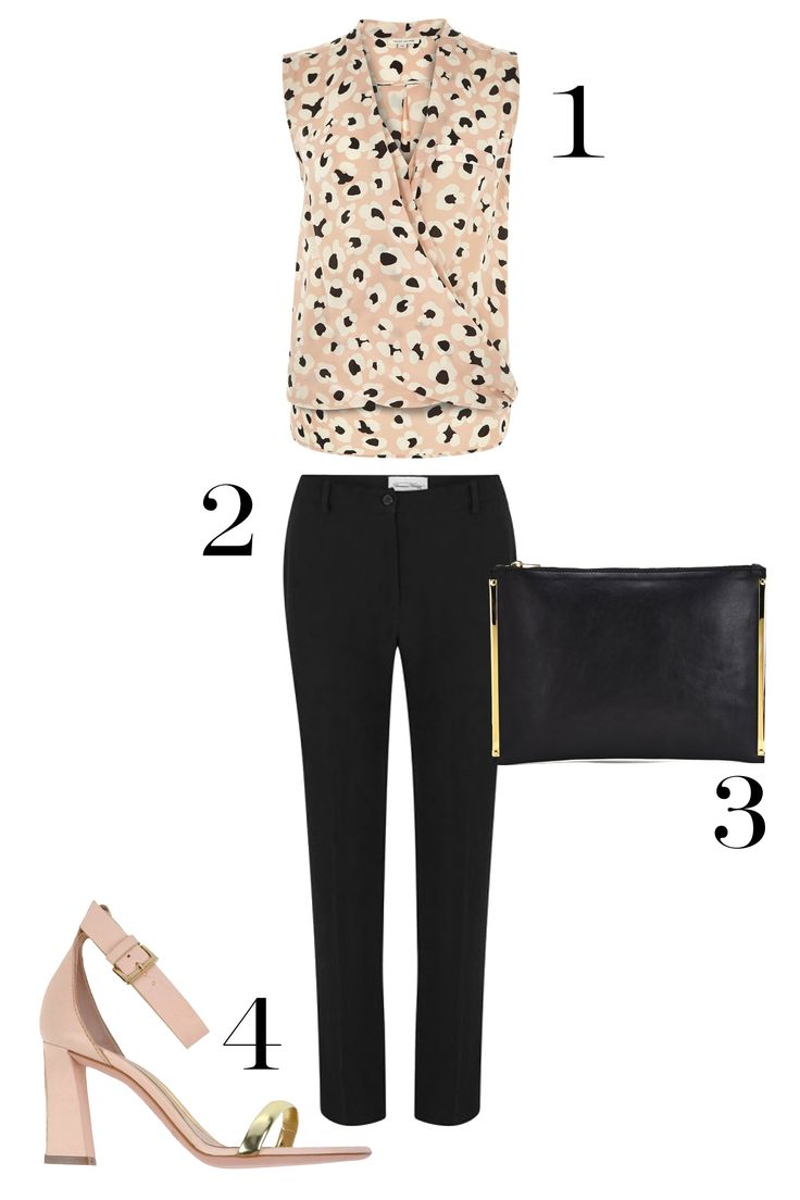 1. River Island Pink Animal Print Sleeveless Wrap Blouse, $64; riverisland.com. 2. American Vintage Women's Holiest Pants, $153; coggles.com. 3. Sophie Hulme Large Zip Pouch, $337.50; coggles.com. 4. Sebastian Sandals, $301; yoox.com. .   - MarieClaire.com