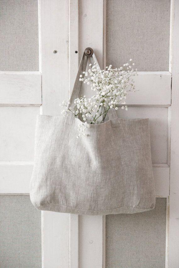 Two-sided linen shopper bag от TwoGrisettes на Etsy
