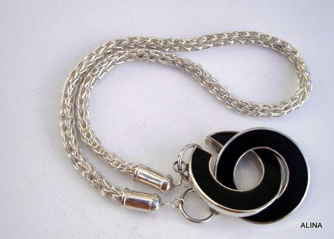 cadena tejida con cierre de ébano y plata 925 ALINA MARTÍNEZ PERDOMO