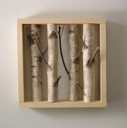 white birch forest - organic wall art: Wall Art, Wall Decor, Living Rooms, Birches Trees, Birches Forests, Diy Art, Shadows Boxes, Organizations Wall, Wood Frames