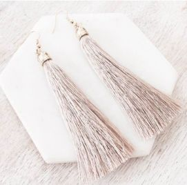 The Simplice Tassel Earrings in Nude - Available now at www.tealandtala.com.au