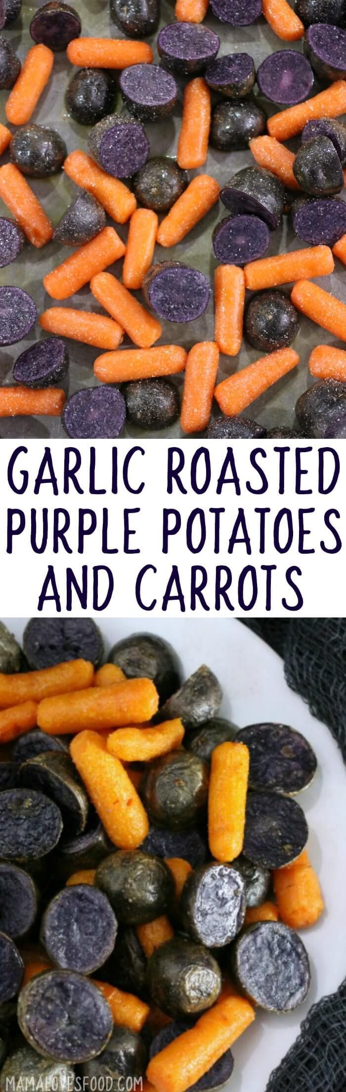 haha! the kids thought this was awesome! tasted great too :-)  GARLIC ROASTED PURPLE POTATOES AND CARROTS