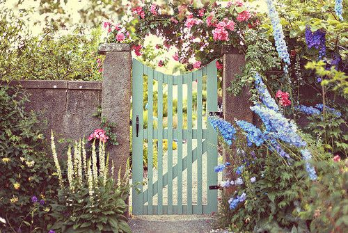 """The """"perfect"""" picket gateway.Fence, Cottages Gardens, Green Gardens, Colors, Garden Gates, Gardens Gates, The Secret Gardens, Flower, Green Gates"""