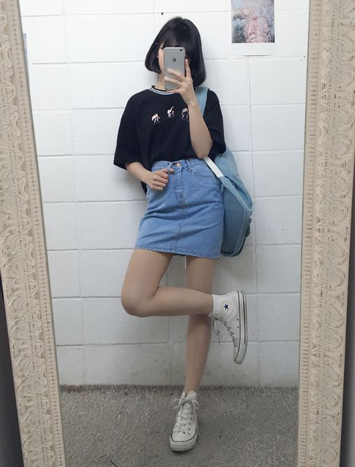 This outfit has got to be in everyone's Korean wardrobe considering this look is worn by many girls,even though everybody wears this they all have some sort of unique twist added to it whether its the short hair or long hair , the shoes or the style of the t-shirt.