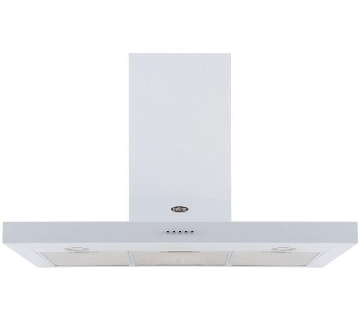 BELLING 110DB Flat Chimney Cooker Hood - White