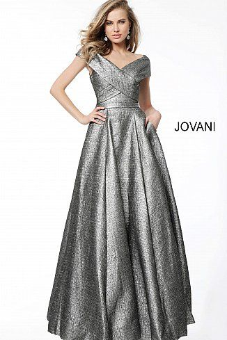dcc1398a29 Silver Off the Shoulder Pleated Bodice Evening Ballgown 61056 #Jovani  #EveningDress #FormalGown #BlackTie #FormalEvent #2018collection
