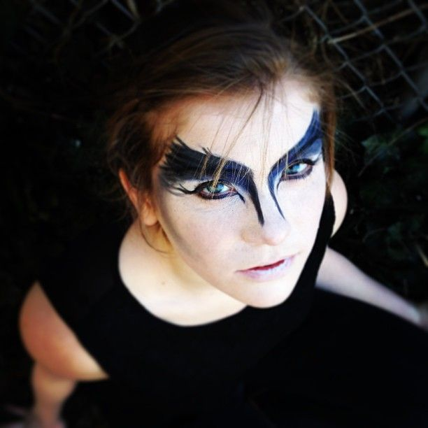 """Raven/Crow makeup inspired by the Misschevious.tv tutorial and the play """"A Murder of Crows"""" by Mac Wellman."""