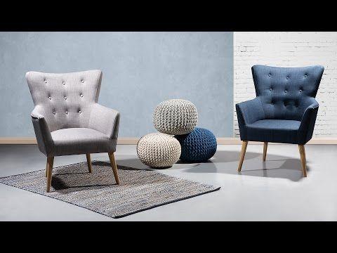 Fauteuil donkerblauw - oorfauteuil - relaxfauteuil - tv-stoel - stoffen fauteuil - ANGEN
