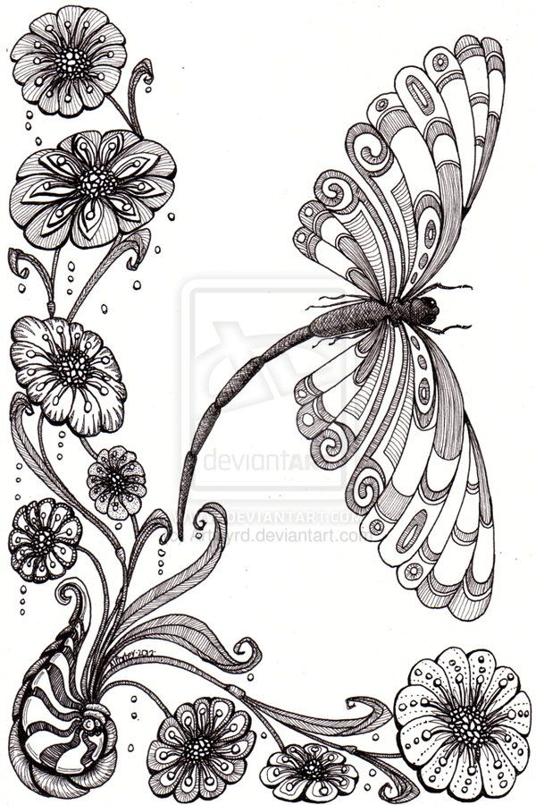 Beautiful And Original Whimsical Abstract Psychedelic Stylised Ink Drawing Illustration Dragonfly Flower Shell Patterns Art Designs Ideas