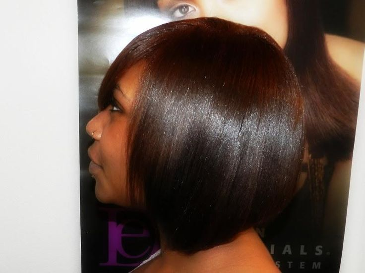 Relaxed Hair Colored Cut Into Bob