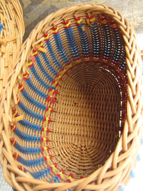 Basket Weaving Handles : Vintage wicker sewing basket with blue handle