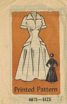 1950s Anne Adams 4671 Vintage Sewing Pattern Misses' Dress via Etsy.