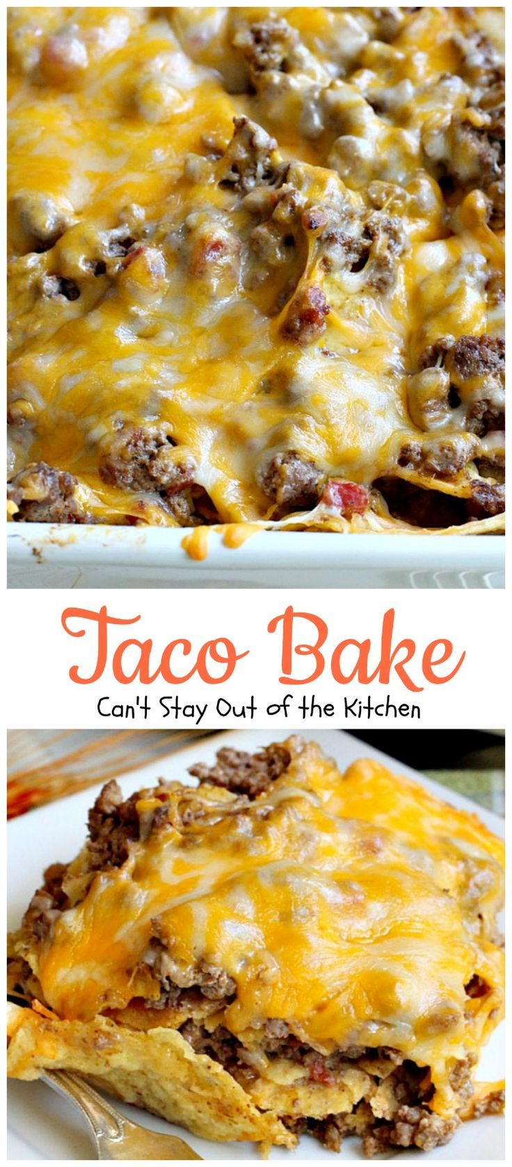 Taco Bake | Can't Stay Out of the Kitchen | this is a super easy 7-ingredient dinner recipe. We love this #casserole. #Tex-Mex #glutenfree