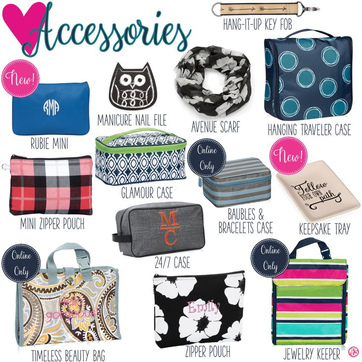 Accessories by Thirty-One. Fall/Winter 2016. Click to order. Join my VIP Facebook Page at https://www.facebook.com/groups/1603655576518592/