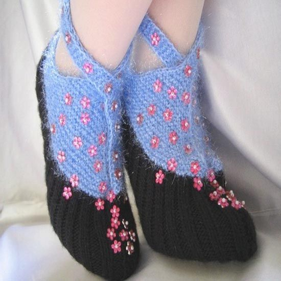 slippers with little pink flowers
