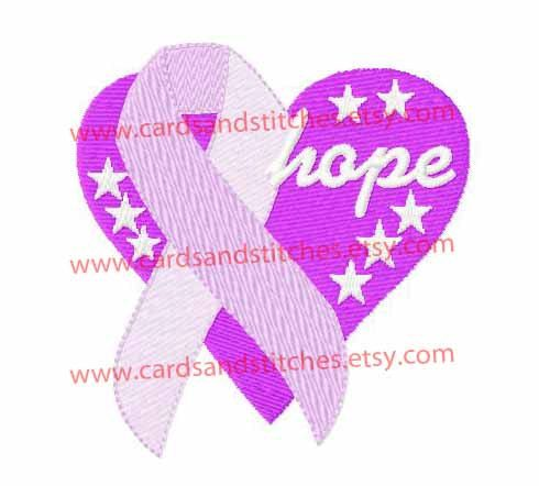 Awareness Heart Ribbon Hope - Alzheimers Ribbon - Machine Embroidery Design - Instant Download - 4x4 and 5x7 - 7 formats included