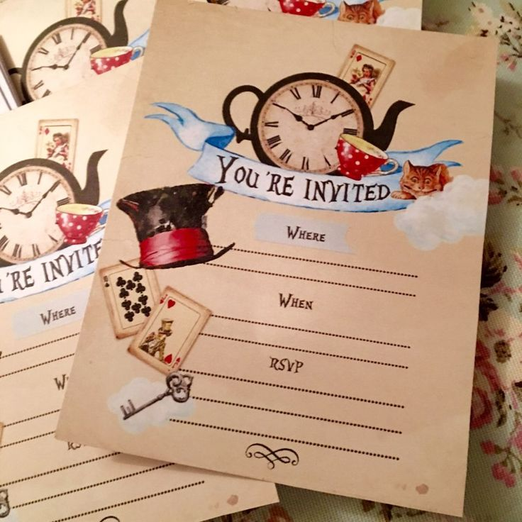 Alice In Wonderland Party Invitations- Set Of 12 With Envelopes