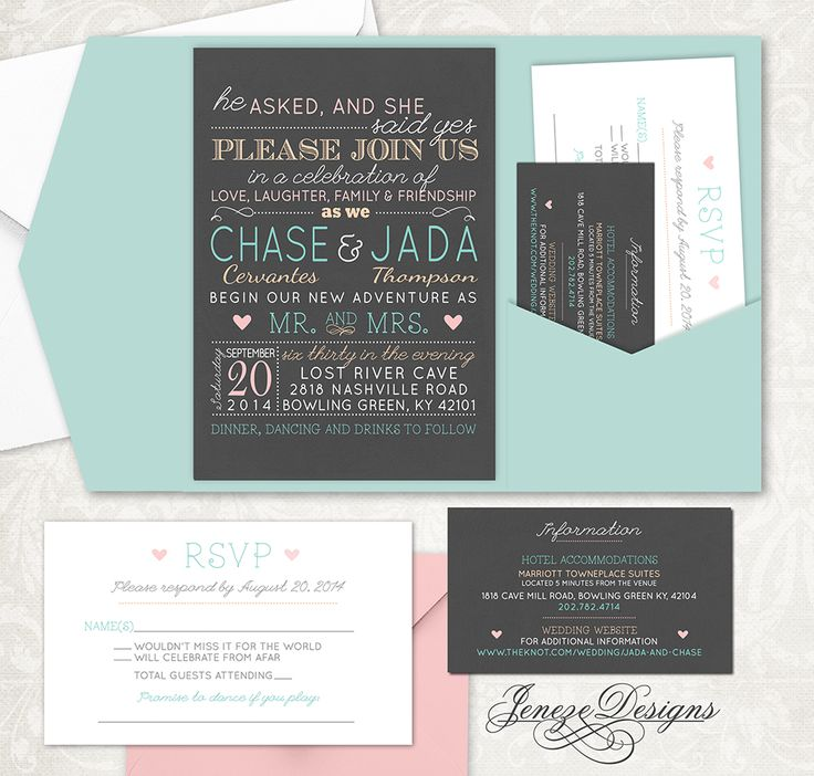 funny wedding invitation rsvp goes viral%0A Fun and unique pocket wedding invitation set by Jeneze Designs  See more at  www