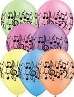 10 - Asst Neon Musical Note Latex balloons birthday recital music on Etsy, $4.40