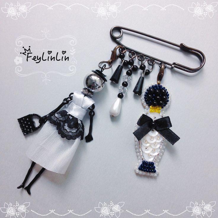 French doll and bead embroidered bottle of perfume ||| Брошь с французской куклой и бисерным флаконом ___________________  #FeyLinLin #brooch #брошь #вышивка #бисер #ビーズ刺繍 #Vintage #french_doll_necklace #handmade #design  #beads #beadedbrooch #jewellery #embroidery #pin #ビーズ刺繍 #beadwork #бисер