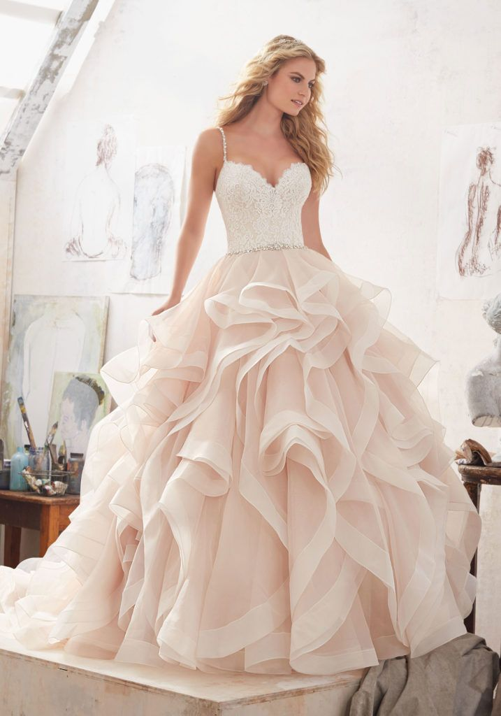 Wedding Dresses and Bridal Gowns by Morilee designed by Madeline Gardner. This Lace and Organza Ballgown Bridal Dress is accented with Crystal Beaded Straps.