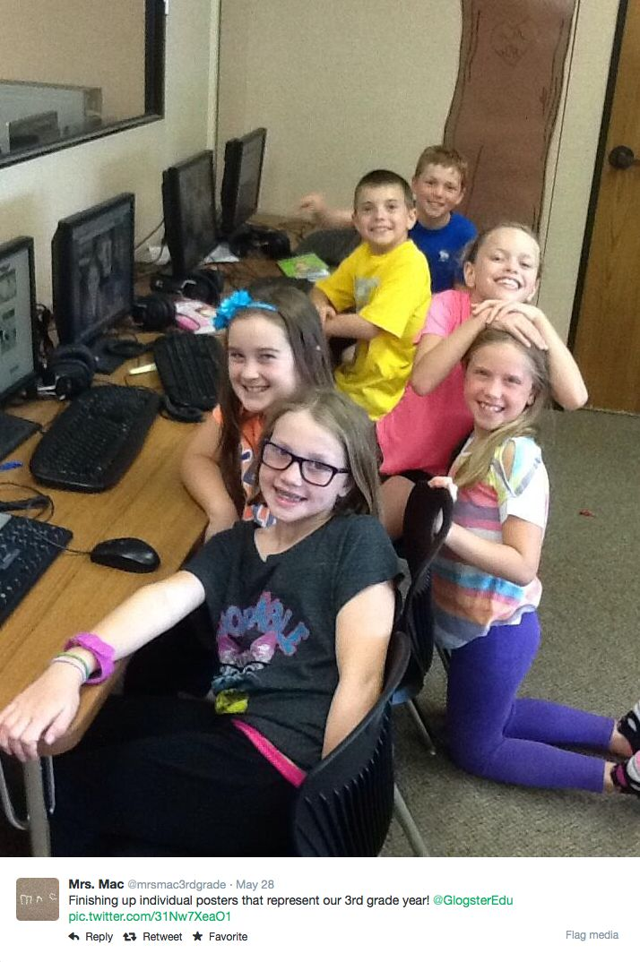 Mrs. Mac's students finishing up individual posters that represent their 3rd grade year. #GlogsterEDU #education #classroom