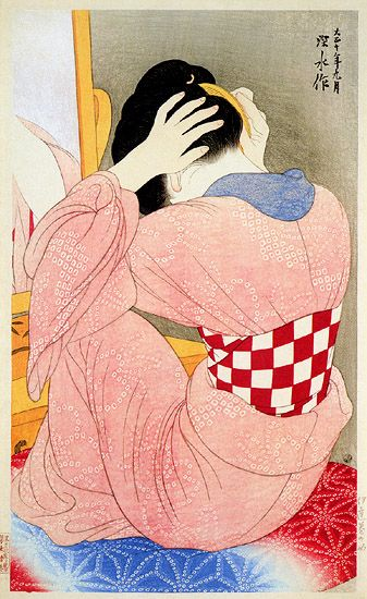 Japan Painting - Woman with an Undersash  by Ito Shinsui, 1921  (published by Watanabe Shozaburo) #estampe #japon #kimono