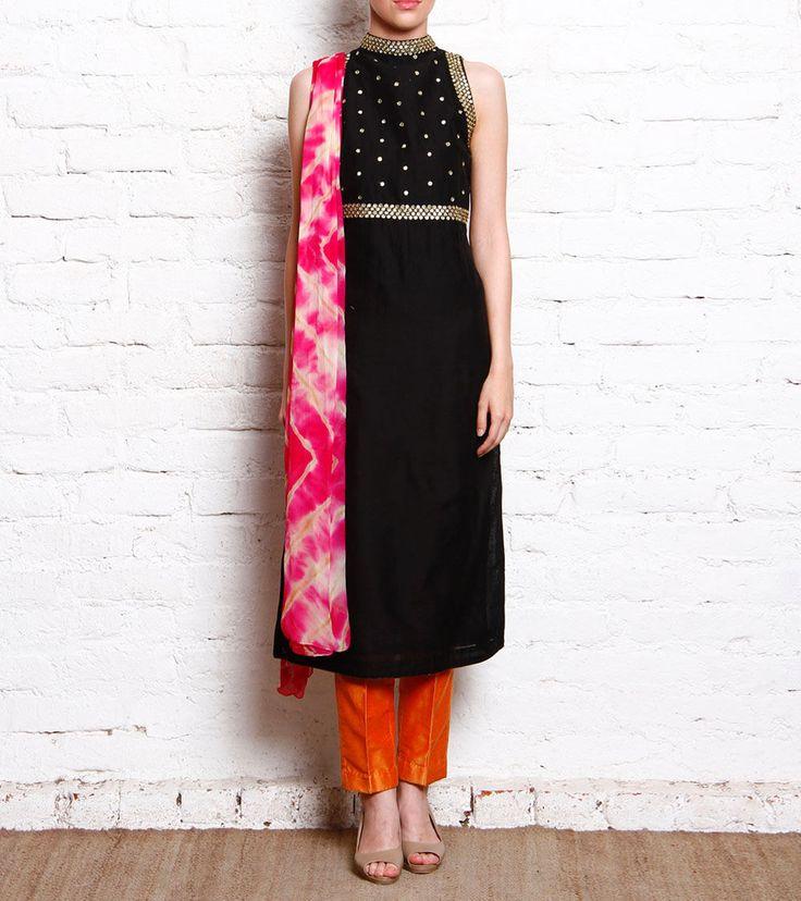 #Black #Mirror Embroidered #Chanderi #Kurta With #Dupion #Pants & #Dupatta by #Varan-by-anupama-datt at #Indinaroots