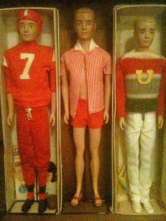 Set of 3 1960's Ken Dolls Dressed In Their Best by AtomicFinds I had the doll in the middle. Ken was ready for the beach.