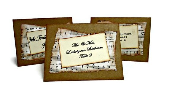 Wedding Place Cards Vintage Sheet Music Place by PartyGarnish, $10.00