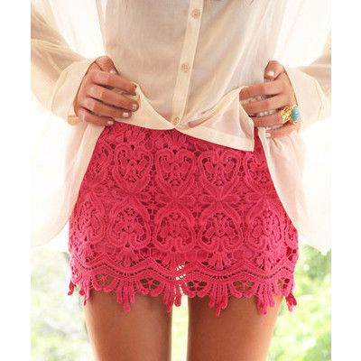 Cute Pink Lace Skirt: In Love, Hotpink, Pink Skirts, Pink Lace Skirts, Hot Pink, Love Lace, Crochet Skirts, Cute Skirts, Pinklace