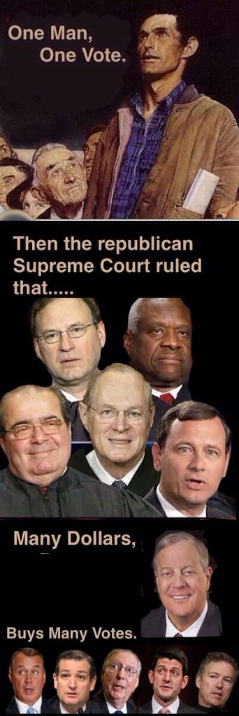 It's 'we the people' so the republicans in the Supreme Court ruled that corporations were people, very rich people. That corporations could put as much money into politics as they wanted. That corporations did not need to say where the money was coming from. It's time we remove the corporate shills on the Supreme Court.