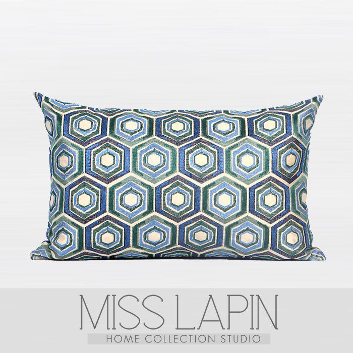 地中海/样板房家居软装沙发靠包抱枕布艺/蓝绿色菱形图案绣花腰枕-淘宝网