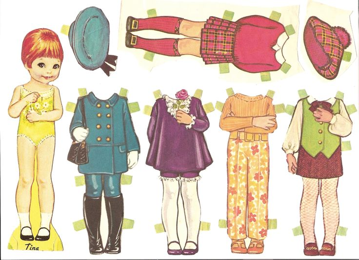 Tina the mod paper doll with outfits, 1967.